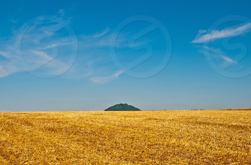 stubble field with mountain in Germany photo