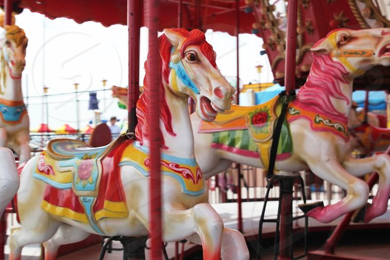 Horses Carnival Carousel Summertime photo