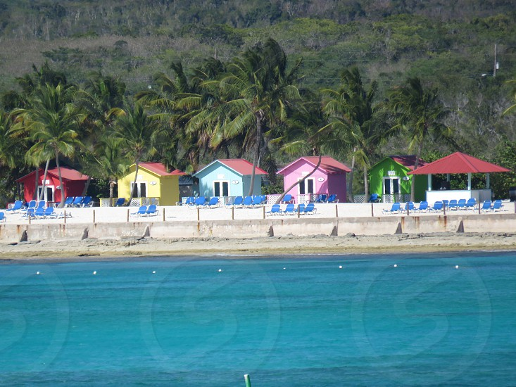 beach house beach multi colors summer landscape Caribbean  water blue skies vacation photo