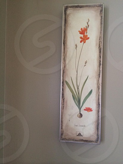 gray framed wall mounted flower painting photo