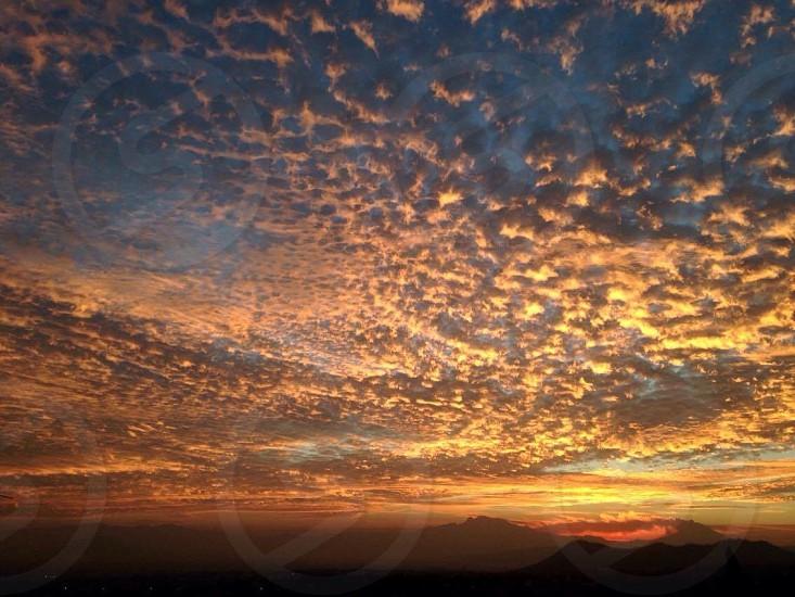Cloud sun red sky blue photo