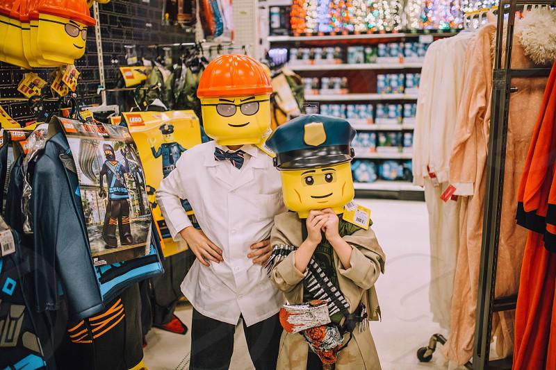 Halloween costumes boys kids Lego shopping  photo