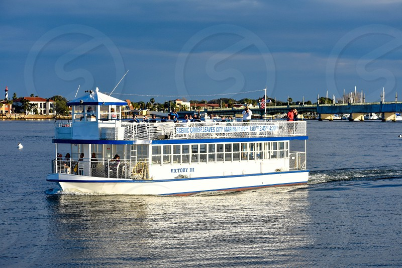 St. Augustine Florida. January 26  2019 . Scenic Cruise Tour on colorful background in Florida's Historic Coast  (2) photo