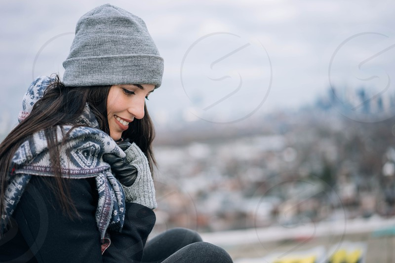 toronto joy happy smile female fashion winter portrait focus city urban photo