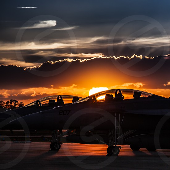 F-18 Super Hornet fighter jets on the sunset in Florida. photo