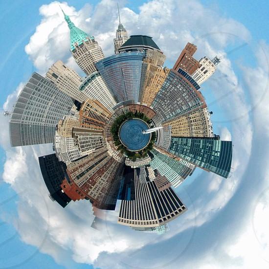 new york city buildings under white clouds kaleidoscope photo photo