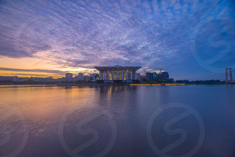 Masjid iron mosque putrajaya malaysia islam lake reflection ramadan ramadhan eid pray sunrise cloud photo