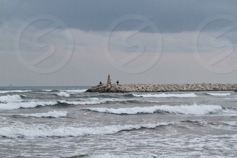 Storm Cyprus sea water waves seascape  photo