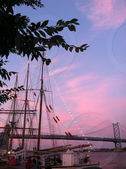 Benjamin Franklin Bridge at sunset photo