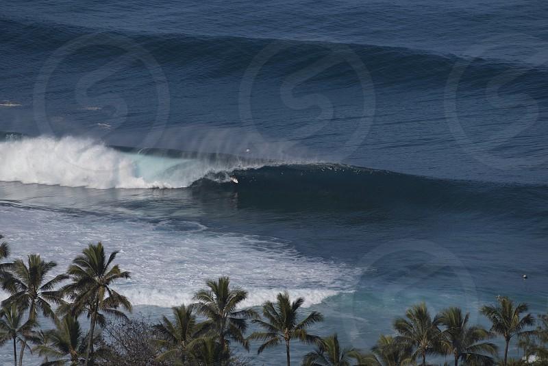 Aerial surfing pipeline hawaii O'ahu north shore photo
