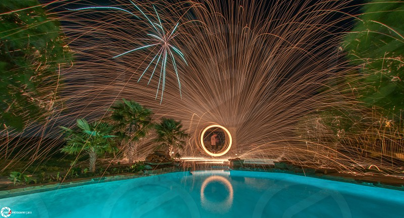 Long exposure over water with steel wool.  photo