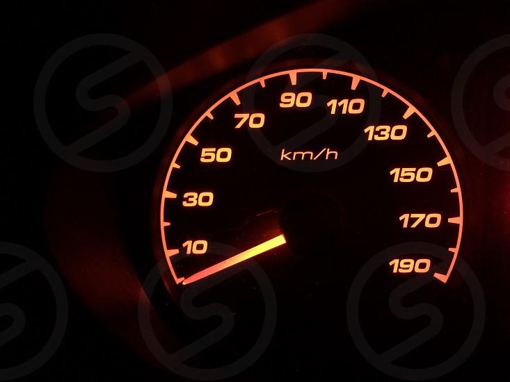 speedometer speedo clock car dashboard orange zero kmhp vehicle transportation  photo