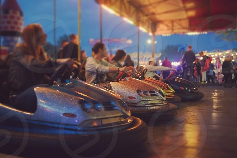 Bumper Cars Ready to Start at Town Fair photo