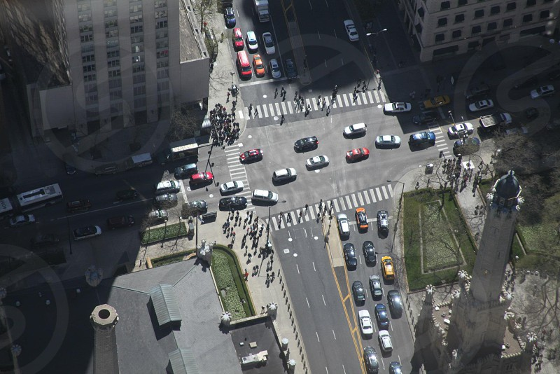 areal photography of cars on a crossroad photo