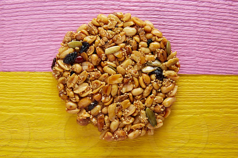 Mexican candy sweet Palanqueta with peanuts crunchy and amaranth seeds photo
