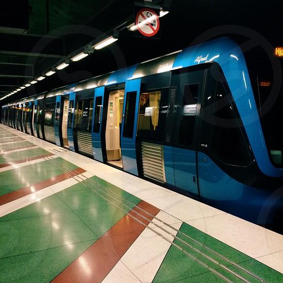 Train in stockholm metro station photo