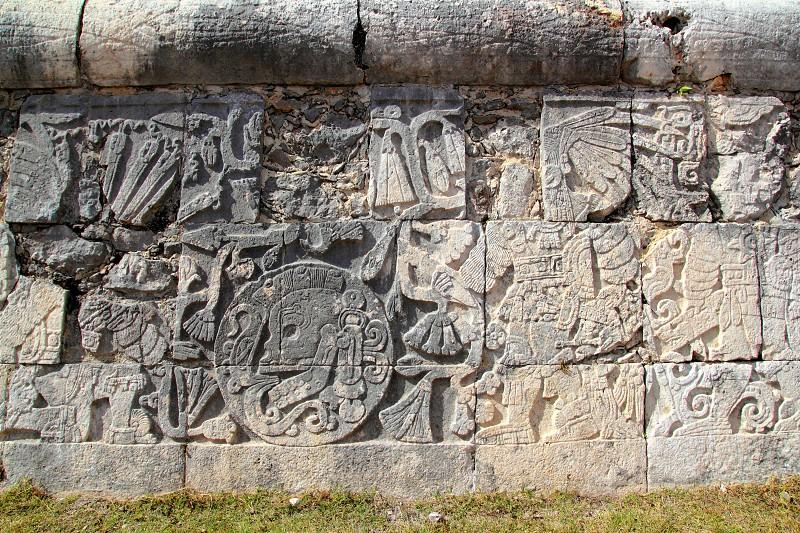 Chichen Itza hieroglyphics mayan pok-ta-pok ball court  Mexico photo