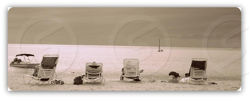 four white lounge chairs on seashore photo