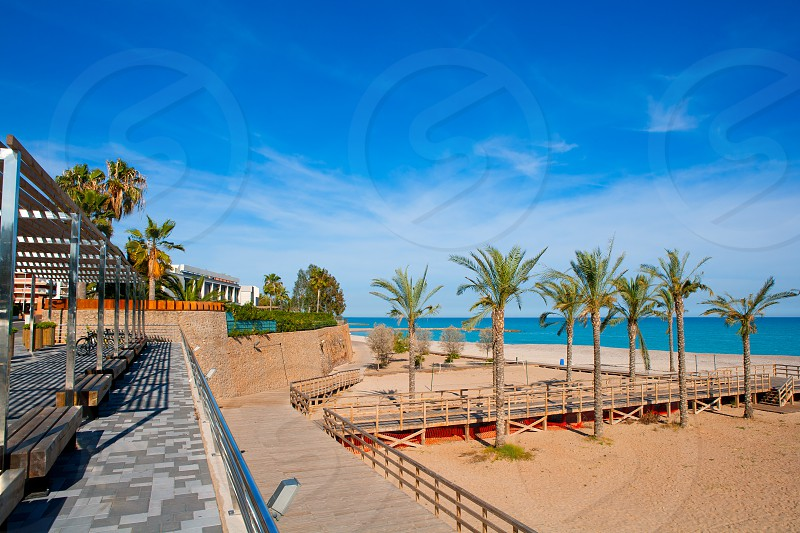 Benicasim in Castellon Benicassim beach with Mediterranean sea of spain photo