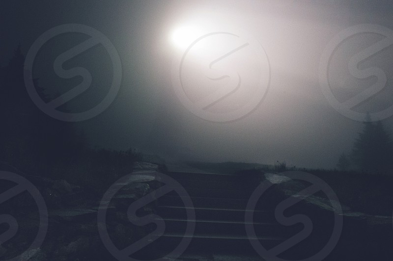 Rolling fog on top of Mt. Greylock  photo