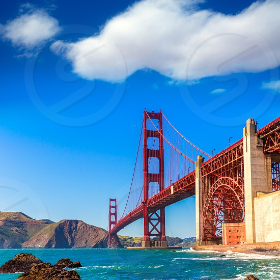 San Francisco Golden Gate Bridge GGB from Marshall beach in California USA photo