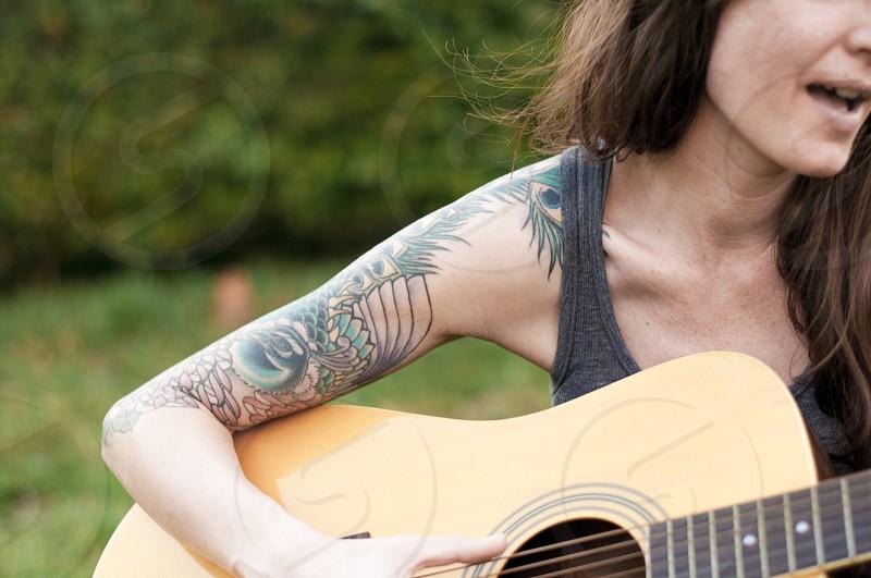 wood acoustic guitar photo