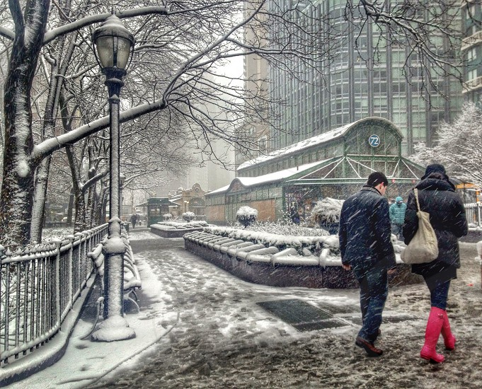 Snow storm. 72nd St Subway Station. NYC. photo