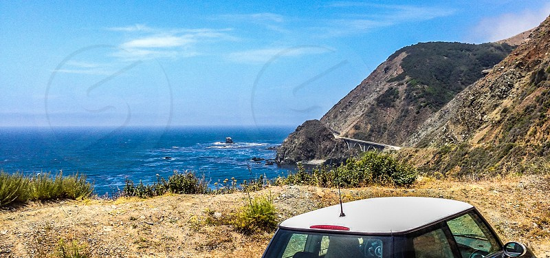 road trip mountains car at big sur photo