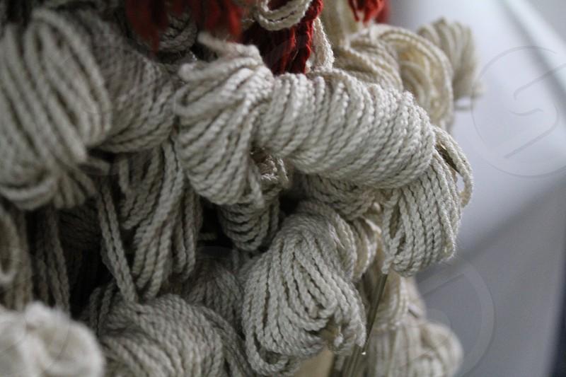 Yarn Bunnies Creme on White photo
