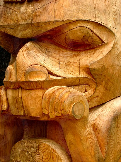 Cedar Beaver carving non-painted showing extensive wood grain patterns. Nature meets art. photo