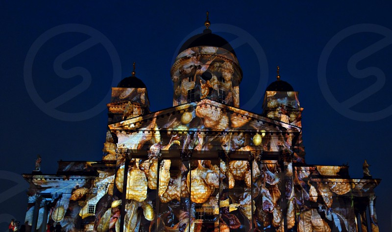 Helsinki Cathedral at the Lux Helsinki light arts festival on 5 January 2013.  photo