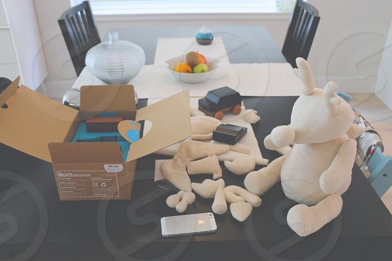 white animal plush toy photo