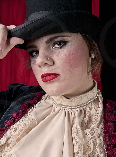 Girl Dressed Up As A Circus Ringleader photo