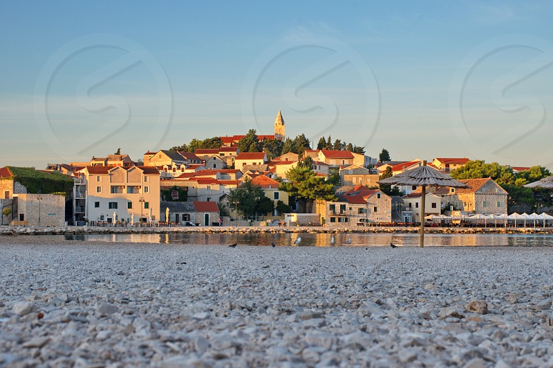 Cityscape of Primosten in Croatia after the sunrise photo