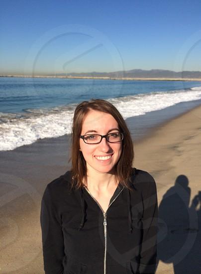 happy girl on CA beach photo