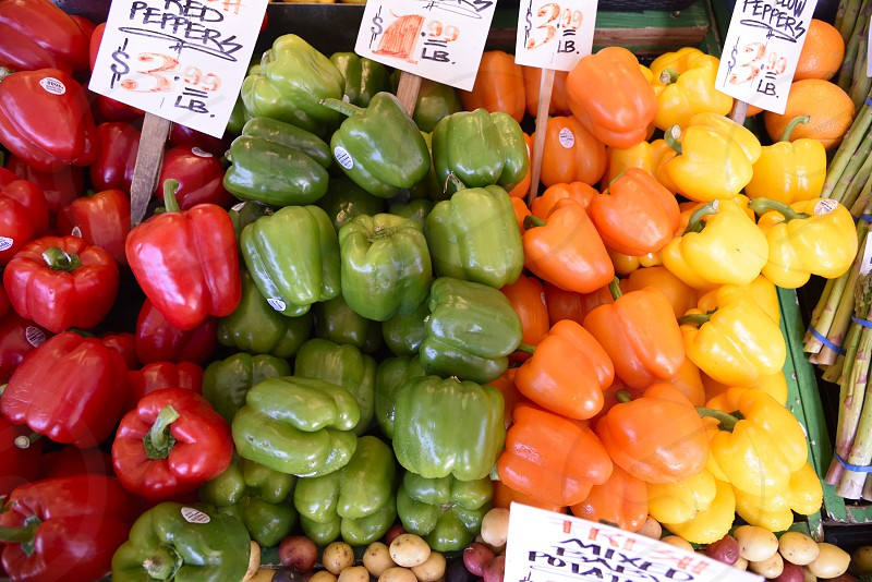 Farmers Market peppers colorful photo