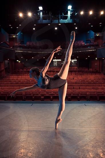Ballet dancer ballerina studio theatre dance tutu leotard pointe  photo