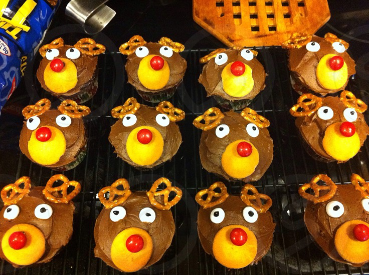 Baking Christmas reindeer red nose photo