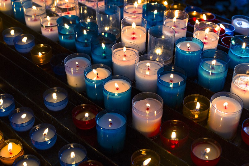 Colored candles used in church for religious function photo