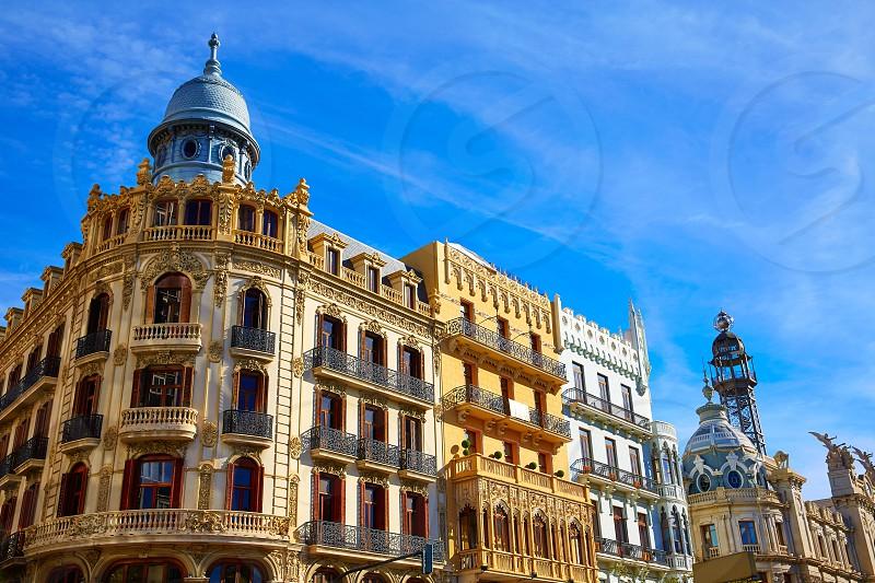 Valencia Ayuntamiento square Casa Ferrer and Noguera buildings at Spain photo
