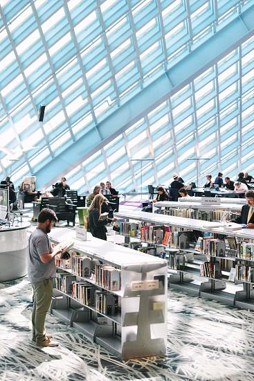 architecture windows light shadows Seattle books library photo
