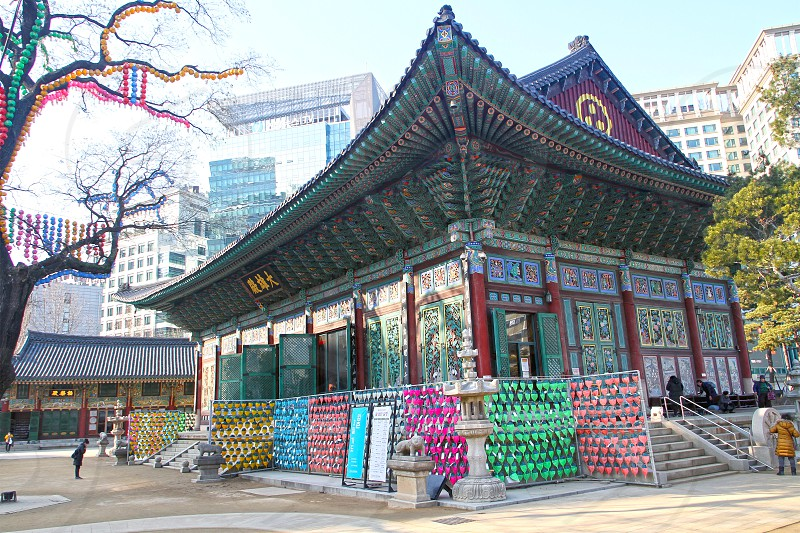 Jogyesa buddhist temple views in downtown Seoul South Korea. photo