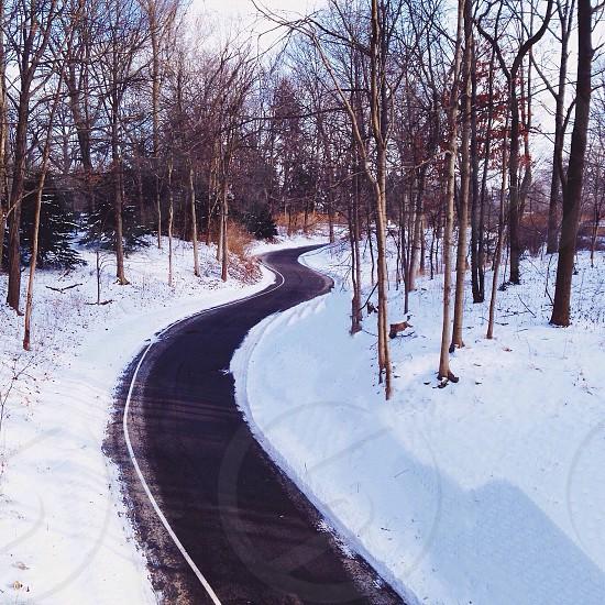winter road panoramic view photo