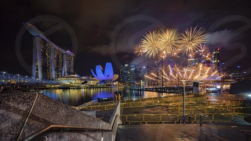 Singapore Marina Bay during new year eve fireworks show photo