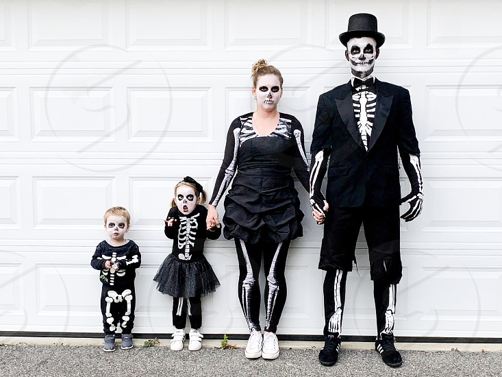skeleton family on Halloween photo