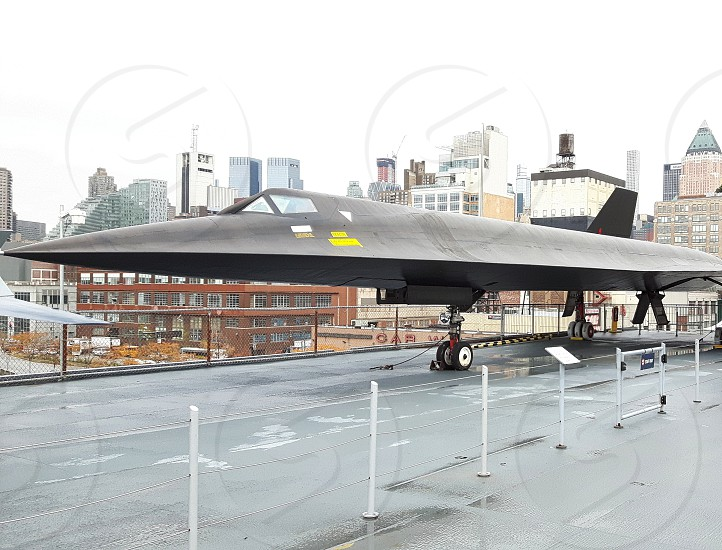 a stealth bomber in a museum at the tour photo