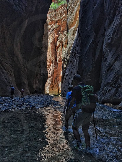 Hiking zion water cliffs slot canyons photo