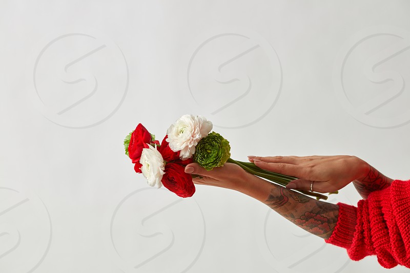 a beautiful bouquet of flowers is holding a girl with a tattoo on her hands on a gray background. Mother's Day. Valentine's Day. photo