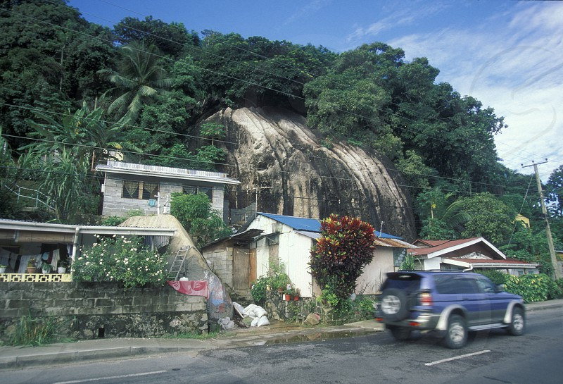 a road near the city of Victoriaon the Island Mahe of the seychelles islands in the indian ocean photo