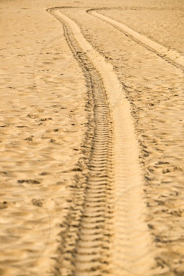 tracks of a military truck in sand photo